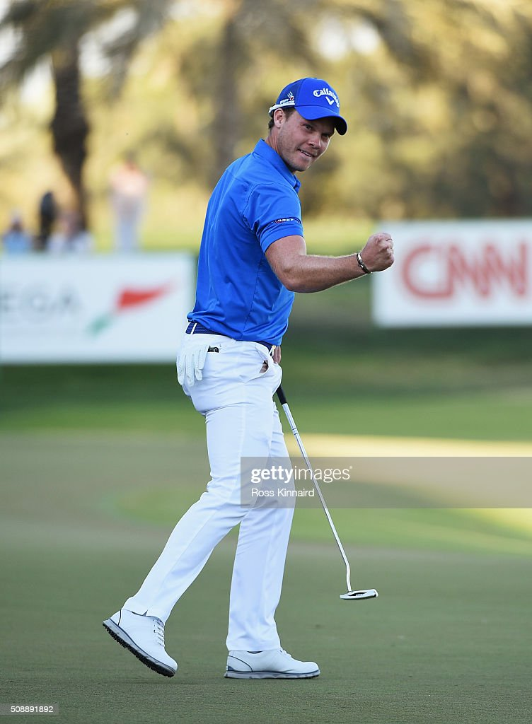 <a gi-track='captionPersonalityLinkClicked' href=/galleries/search?phrase=Danny+Willett&family=editorial&specificpeople=4488861 ng-click='$event.stopPropagation()'>Danny Willett</a> of England celebrates his victory on the 18th green during the final round of the Omega Dubai Desert Classic at the Emirates Golf Club on February 7, 2016 in Dubai, United Arab Emirates.