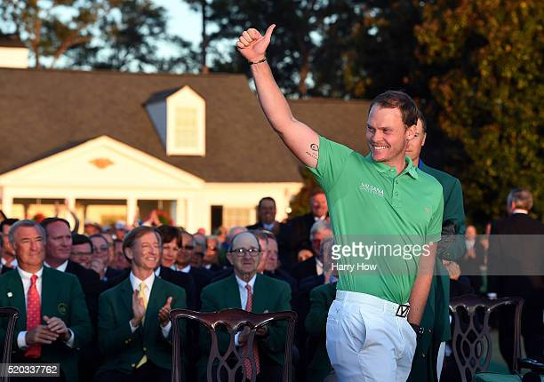 Danny Willett of England celebrates winning during the green jacket ceremony after the final round of the 2016 Masters Tournament at Augusta National...