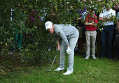 Danny Willett of England checks his lie on the 17th hole during day two of the BMW PGA Championship at Wentworth on May 27 2016 in Virginia Water...