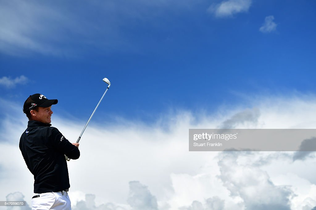Danny Willett of England hits a tee shot during a practice round ahead of the 145th Open Championship at Royal Troon on July 13, 2016 in Troon, Scotland.