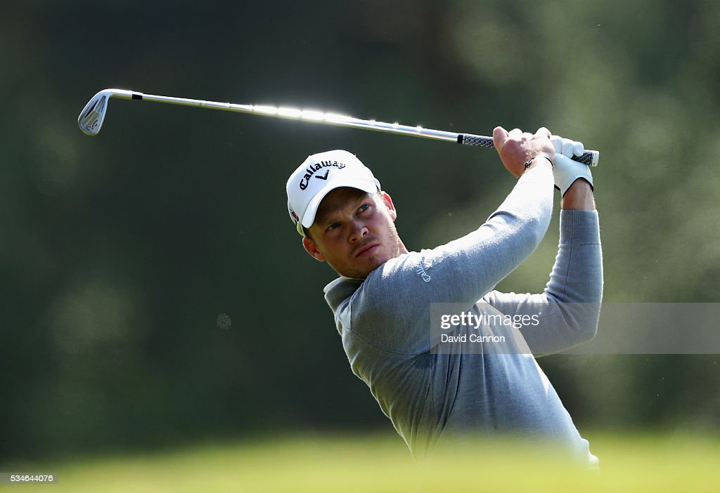 <a gi-track='captionPersonalityLinkClicked' href=/galleries/search?phrase=Danny+Willett&family=editorial&specificpeople=4488861 ng-click='$event.stopPropagation()'>Danny Willett</a> of England hits his 2nd shot on the 9th hole during day two of the BMW PGA Championship at Wentworth on May 27, 2016 in Virginia Water, England.