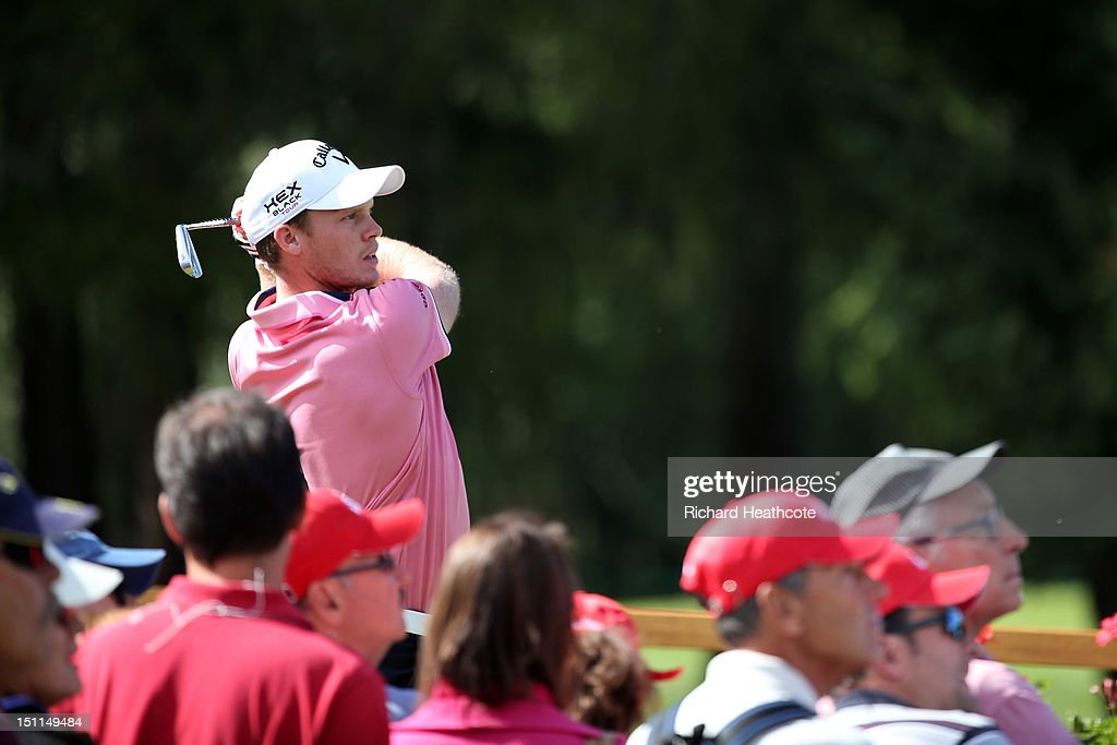 <a gi-track='captionPersonalityLinkClicked' href=/galleries/search?phrase=Danny+Willett&family=editorial&specificpeople=4488861 ng-click='$event.stopPropagation()'>Danny Willett</a> of England in action during the final round of the Omega European Masters at Crans-sur-Sierre Golf Club on September 2, 2012 in Crans, Switzerland.