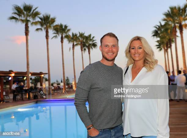 Danny Willett of England is pictured with his wife Nicole at the Pro Am Party during the Portugal Masters at Dom Pedro Victoria Golf Club on...