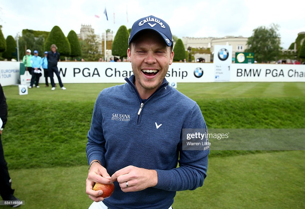Danny Willett of England laughs during the Pro-Am prior to the BMW PGA Championship at Wentworth on May 25, 2016 in Virginia Water, England.