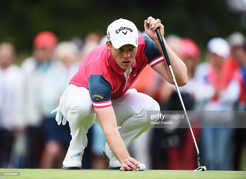 Danny Willett of England lines up a putt during the final round of the Omega European Masters at CranssurSierre Golf Club on July 26 2015 in...
