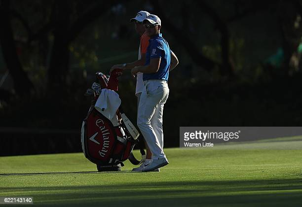 Danny Willett of England looks on from the 18th fairway during the first round of the Nedbank Golf Challenge at the Gary Player CC on November 10...