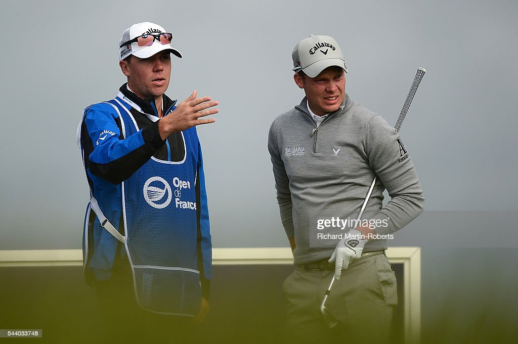 <a gi-track='captionPersonalityLinkClicked' href=/galleries/search?phrase=Danny+Willett&family=editorial&specificpeople=4488861 ng-click='$event.stopPropagation()'>Danny Willett</a> of England looks on with caddie Jonathan Smart on the 11th hole during the second round of the 100th Open de France at Le Golf National on July 1, 2016 in Paris, France.