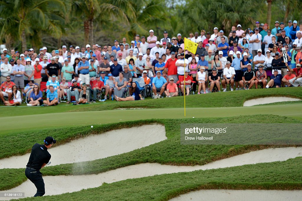 Danny Willett of England out of the bunker on the 16th hole during the third round of the World Golf Championships-Cadillac Championship at Trump National Doral Blue Monster Course on March 5, 2016 in Doral, Florida.