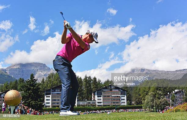 Danny Willett of England plays a shot during the third round of the Omega European Masters at CranssurSierre Golf Club on July 25 2015 in...