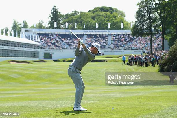 Danny Willett of England plays his 2nd shot on the 18th hole during day two of the BMW PGA Championship at Wentworth on May 27 2016 in Virginia Water...