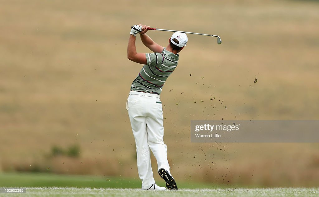 Danny Willett of England plays his second shot into the first green during the third round of the Tshwane Open at Copperleaf Golf & Country Estate on March 2, 2013 in Centurion, South Africa.