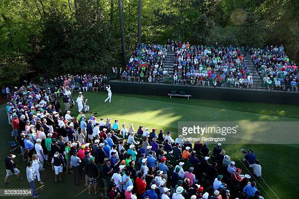 Danny Willett of England plays his shot from the 16th tee during the final round of the 2016 Masters Tournament at Augusta National Golf Club on...