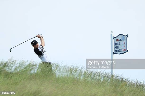 Danny Willett of England plays his shot from the fifth tee during a practice round prior to the 2017 US Open at Erin Hills on June 12 2017 in...
