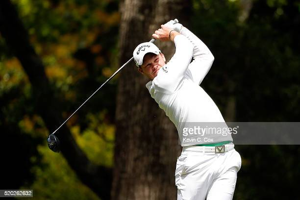 Danny Willett of England plays his shot from the second tee during the final round of the 2016 Masters Tournament at Augusta National Golf Club on...