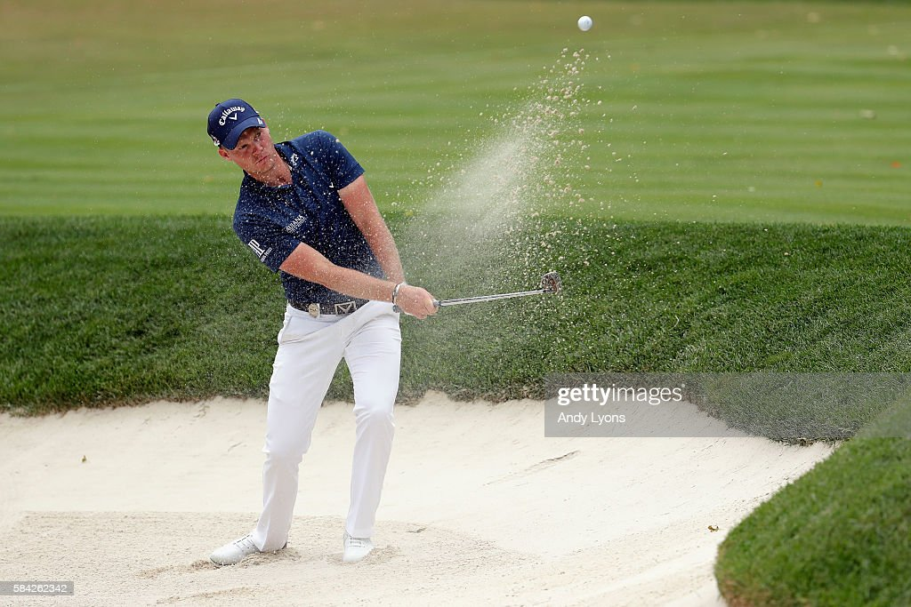 Danny Willett of England plays his third shot on the 13th hole during the first round of the 2016 PGA Championship at Baltusrol Golf Club on July 28...