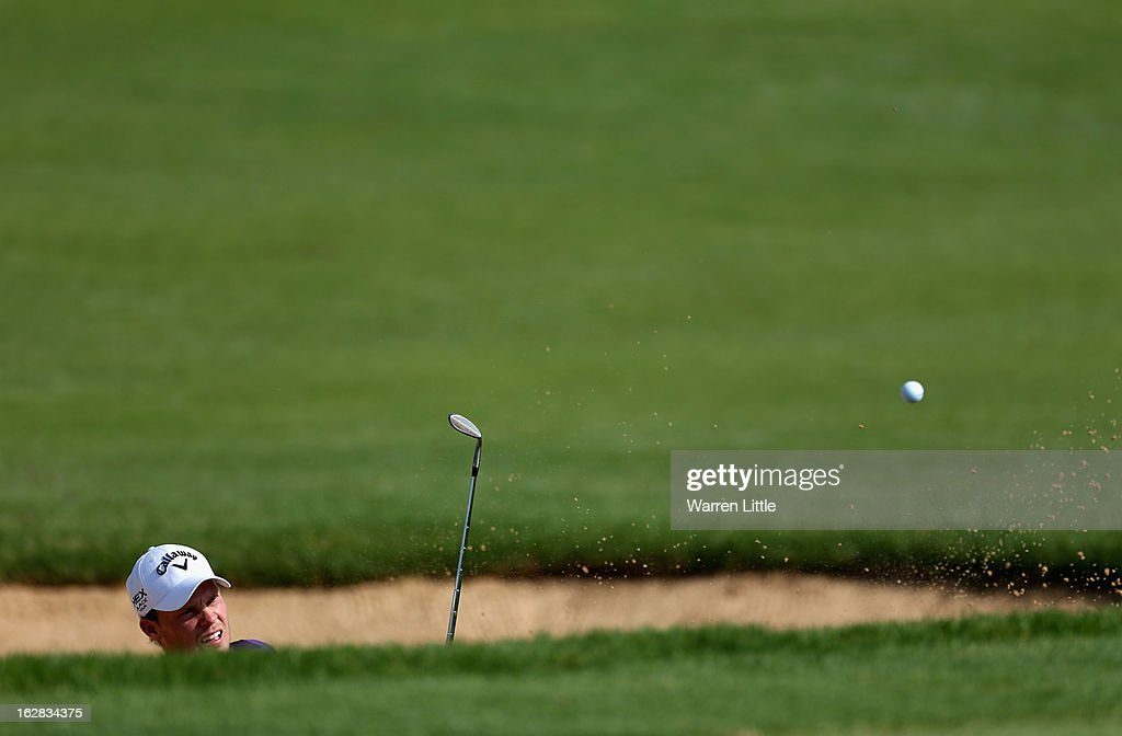 <a gi-track='captionPersonalityLinkClicked' href=/galleries/search?phrase=Danny+Willett&family=editorial&specificpeople=4488861 ng-click='$event.stopPropagation()'>Danny Willett</a> of England plays out of the 10th greenside bunker during the first round of the Tshwane Open at Copperleaf Golf & Country Estate on February 28, 2013 in Centurion, South Africa.