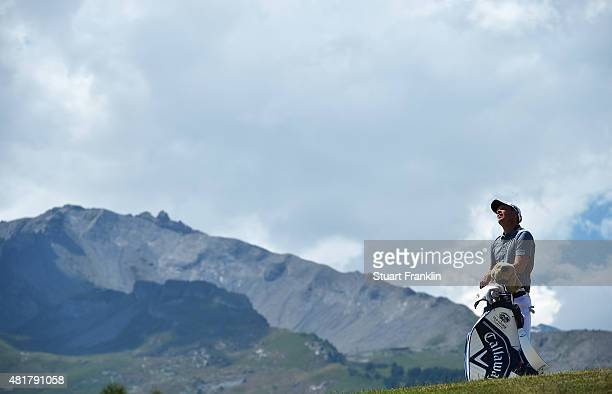 Danny Willett of England ponders a shot during the second round of the Omega European Masters at CranssurSierre Golf Club on July 24 2015 in...