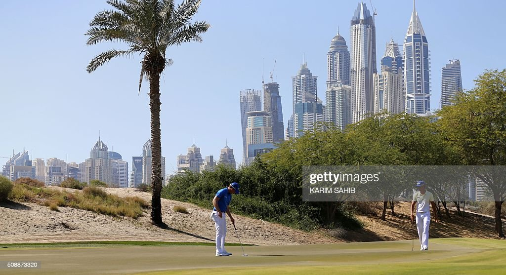 Danny Willett of England prepares to play a shot in the final round of the 2016 Dubai Desert Classic at the Emirates Golf Club in Dubai on February 7, 2016. SAHIB