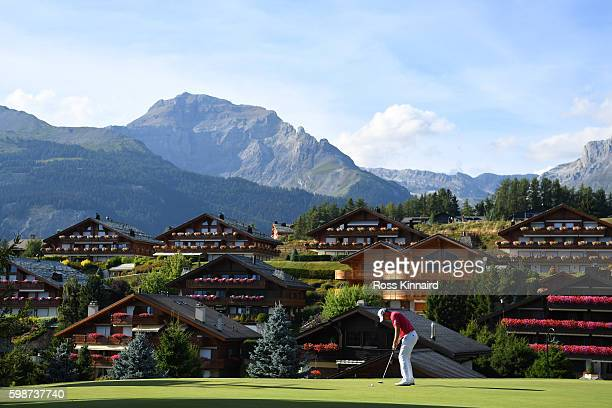 Danny Willett of England putts on the 14th green during the second round of the Omega European Masters at CranssurSierre Golf Club on September 2...