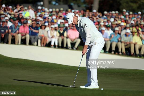 Danny Willett of England putts on the 18th green during the final round of the 2016 Masters Tournament at Augusta National Golf Club on April 10 2016...