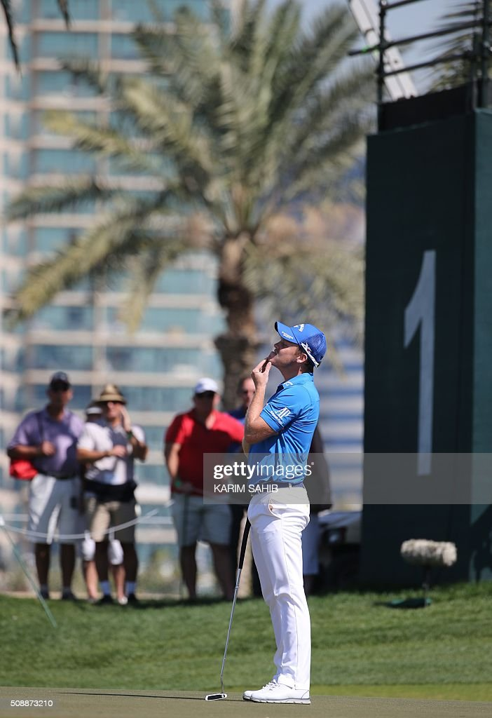 Danny Willett of England reacts before playing a shot in the final round of the 2016 Dubai Desert Classic at the Emirates Golf Club in Dubai on February 7, 2016. SAHIB