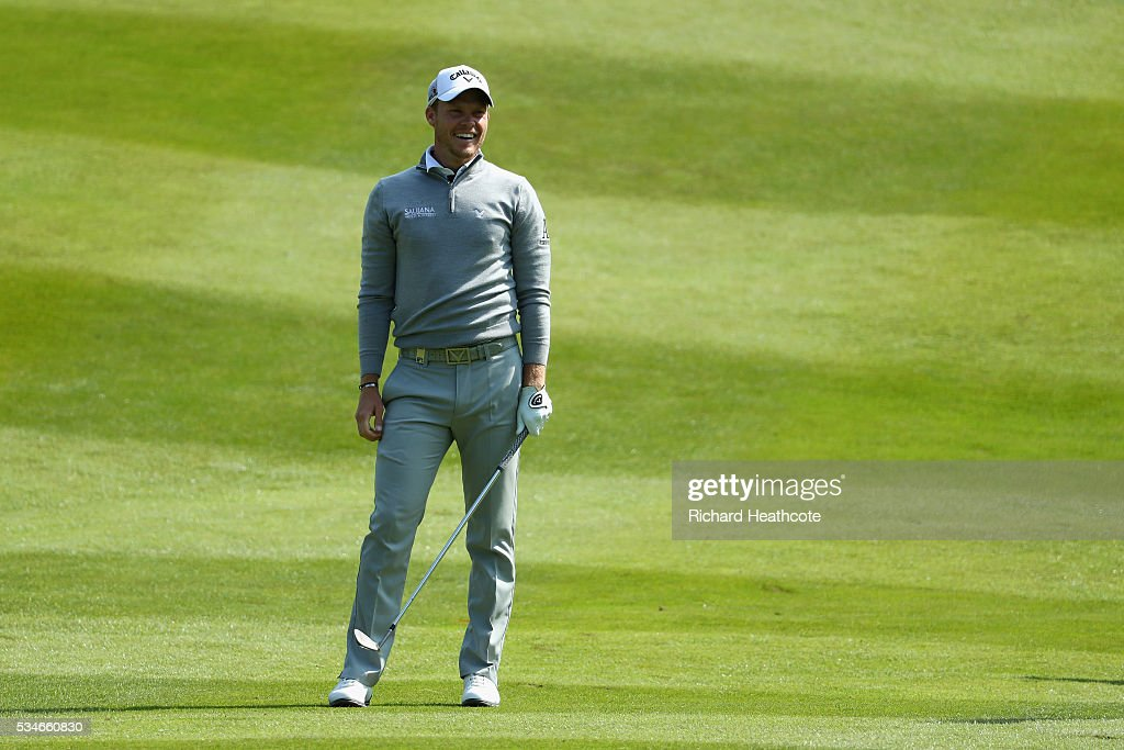 <a gi-track='captionPersonalityLinkClicked' href=/galleries/search?phrase=Danny+Willett&family=editorial&specificpeople=4488861 ng-click='$event.stopPropagation()'>Danny Willett</a> of England reacts during day two of the BMW PGA Championship at Wentworth on May 27, 2016 in Virginia Water, England.