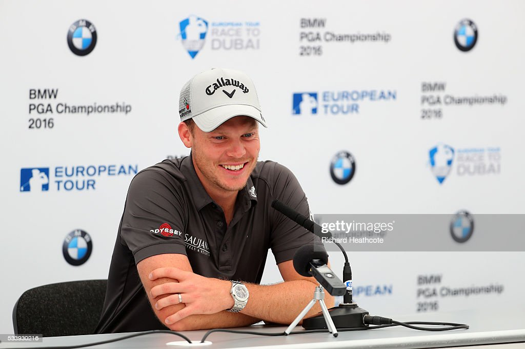 <a gi-track='captionPersonalityLinkClicked' href=/galleries/search?phrase=Danny+Willett&family=editorial&specificpeople=4488861 ng-click='$event.stopPropagation()'>Danny Willett</a> of England speaks to the media during a press conference for the BMW PGA Championship at Wentworth on May 24, 2016 in Virginia Water, England.
