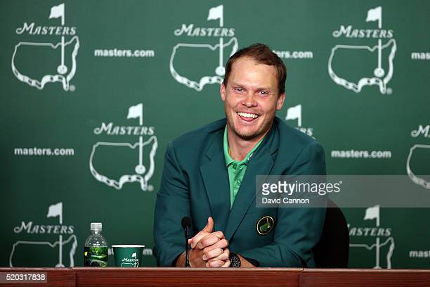 Danny Willett of England speaks to the press after winning the final round of the 2016 Masters Tournament at Augusta National Golf Club on April 10...
