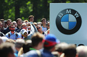 Danny Willett of England tees off on the 12th hole during day two of the BMW PGA Championship at Wentworth on May 27 2016 in Virginia Water England