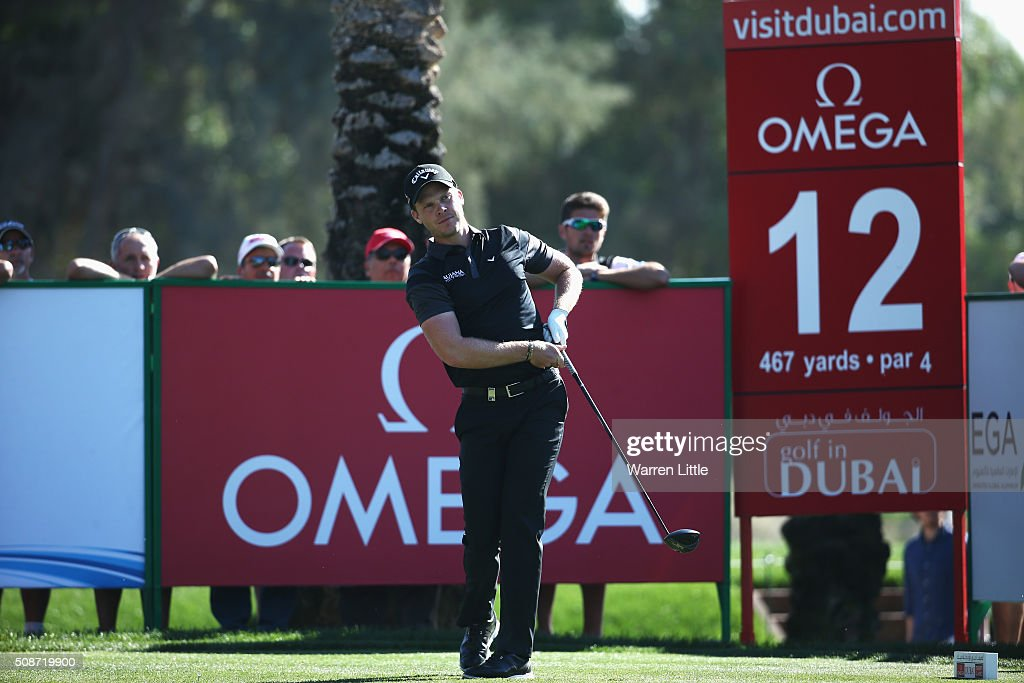 <a gi-track='captionPersonalityLinkClicked' href=/galleries/search?phrase=Danny+Willett&family=editorial&specificpeople=4488861 ng-click='$event.stopPropagation()'>Danny Willett</a> of England tees off on the 12th hole during the third round of the Omega Dubai Desert Classic at the Emirates Golf Club on February 6, 2016 in Dubai, United Arab Emirates.