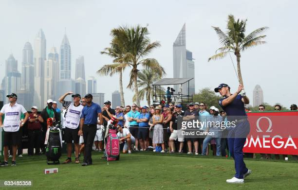 Danny Willett of England tees off on the 4th hole during the first round of the Omega Dubai Desert Classic at Emirates Golf Club on February 2 2017...