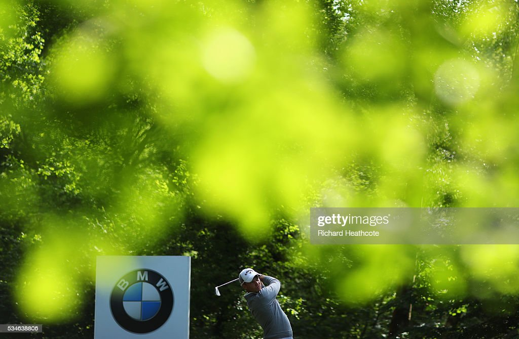 Danny Willett of England tees off on the 5th hole during day two of the BMW PGA Championship at Wentworth on May 27, 2016 in Virginia Water, England.