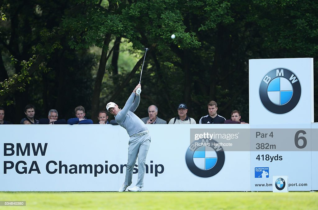 Danny Willett of England tees off on the 6th hole during day two of the BMW PGA Championship at Wentworth on May 27, 2016 in Virginia Water, England.