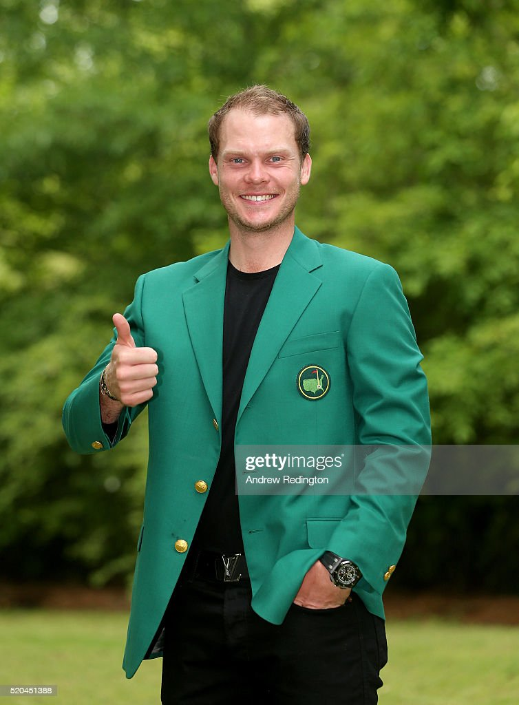Danny Willett of England, the 2016 Masters champion, poses with his green jacket at his rented house on April 11, 2016 in Augusta, Georgia.