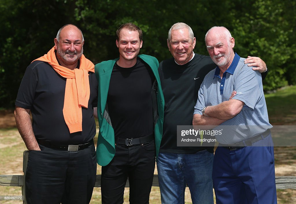 Danny Willett of England, the 2016 Masters champion, (second from left) poses with members of his management team ISM (L-R) Andrew Chubby Chandler, Louis Martin and Martin Hardy at his rented house on April 11, 2016 in Augusta, Georgia.