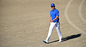 Danny Willett of England walking on the the 14th fairway during the final round of the Omega Dubai Desert Classic on the Majlis Course at the...