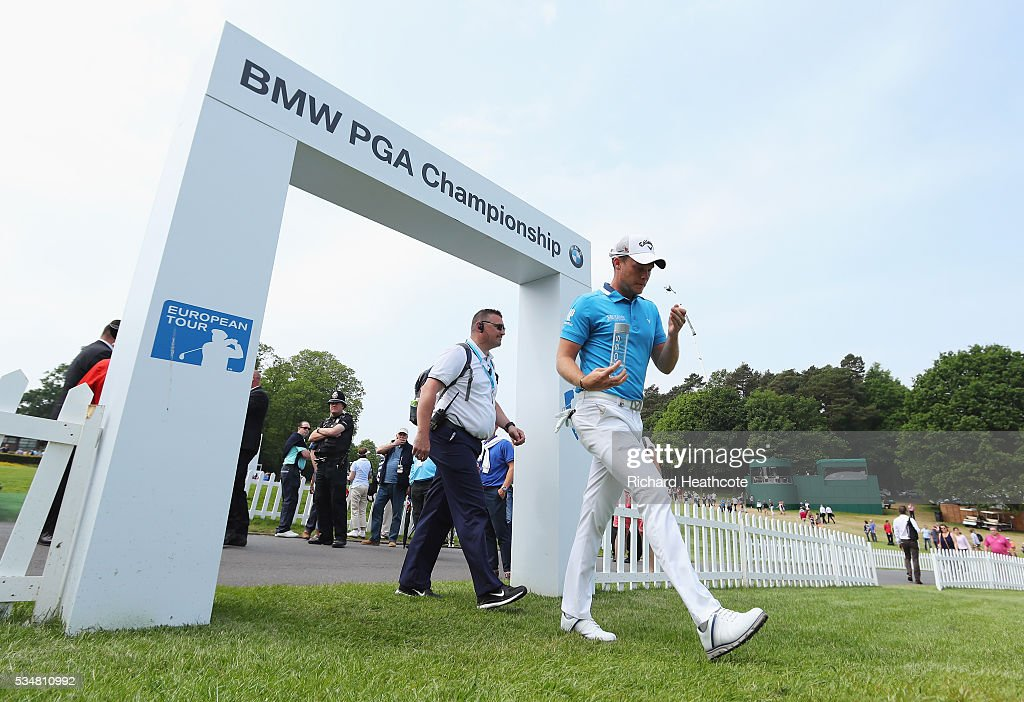 <a gi-track='captionPersonalityLinkClicked' href=/galleries/search?phrase=Danny+Willett&family=editorial&specificpeople=4488861 ng-click='$event.stopPropagation()'>Danny Willett</a> of England walks to the 1st hole during day three of the BMW PGA Championship at Wentworth on May 28, 2016 in Virginia Water, England.