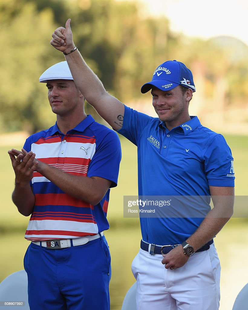 Danny Willett of England waves to the crowds after the final round of the Omega Dubai Desert Classic on the Majlis Course at the Emirates Golf Club...