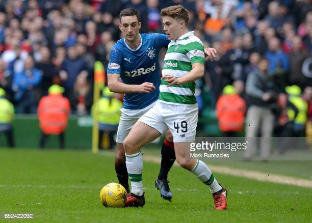 Danny Wilson of Rangers puts pressure on James Forrest of Celtic during the Ladbrokes Scottish Premiership match between Celtic and Rangers at Celtic...