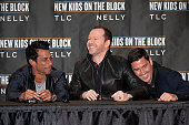 Danny Wood Donnie Wahlberg and Jonathan Knight attend the New Kids On The Block Press Conference at Madison Square Garden on January 20 2015 in New...