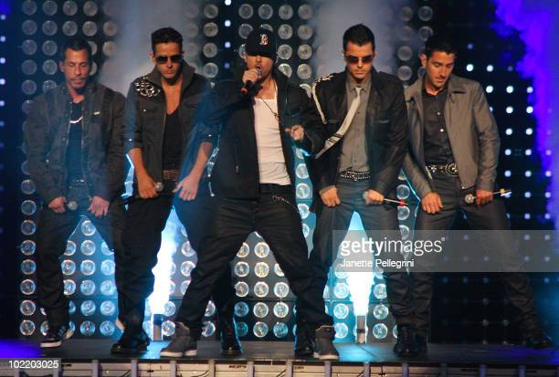 Danny Wood Joey McIntyre Donnie Wahlberg Jordan Knight and Jonathan Knight of New Kids on the Block perform at Radio City Music Hall on June 17 2010...