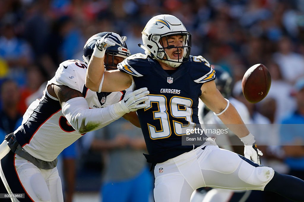 <a gi-track='captionPersonalityLinkClicked' href=/galleries/search?phrase=Danny+Woodhead&family=editorial&specificpeople=4536267 ng-click='$event.stopPropagation()'>Danny Woodhead</a> #39 of the San Diego Chargers drops a pass under pressure from <a gi-track='captionPersonalityLinkClicked' href=/galleries/search?phrase=Lerentee+McCray&family=editorial&specificpeople=7418300 ng-click='$event.stopPropagation()'>Lerentee McCray</a> #55 of the Denver Broncos during the first quarter of a game at Qualcomm Stadium on December 6, 2015 in San Diego, California.