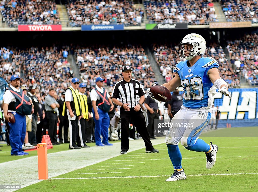 <a gi-track='captionPersonalityLinkClicked' href=/galleries/search?phrase=Danny+Woodhead&family=editorial&specificpeople=4536267 ng-click='$event.stopPropagation()'>Danny Woodhead</a> #39 of the San Diego Chargers reacts to his touchoown during the game against the Oakland Raiders at Qualcomm Stadium on October 25, 2015 in San Diego, California.