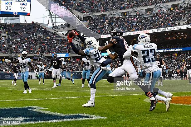 Da'Norris Searcy of the Tennessee Titans intercepts the football in the third quarter against the Chicago Bears at Soldier Field on November 27 2016...