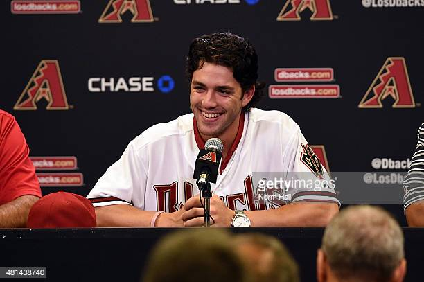 Dansby Swanson of the Arizona Diamondbacks the first overall pick in the 2015 Major League Baseball draft talks to the media prior to a game against...