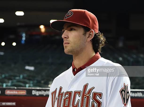 Dansby Swanson of the Arizona Diamondbacks the first overall pick in the 2015 Major League Baseball draft watches batting practice prior to a game...