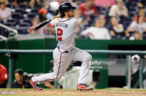 Dansby Swanson of the Atlanta Braves hits a home run in the seventh inning against the Washington Nationals at Nationals Park on September 7 2016 in...