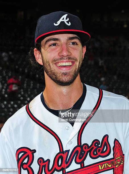 Dansby Swanson of the Atlanta Braves is interviewed after the game against the San Diego Padres at Turner Field on August 30 2016 in Atlanta Georgia