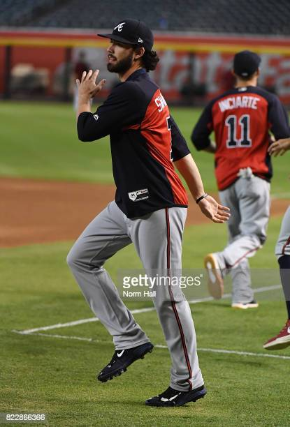 Dansby Swanson of the Atlanta Braves prepares for a game against the Arizona Diamondbacks at Chase Field on July 24 2017 in Phoenix Arizona