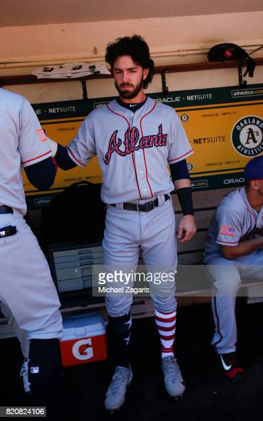 Dansby Swanson of the Atlanta Braves stands in the dugout prior to the game against the Oakland Athletics at the Oakland Alameda Coliseum on July 2...